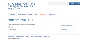 This is the main page of my Mostly Maryland exhibit. On the right side, the pages are listed by category of maps.